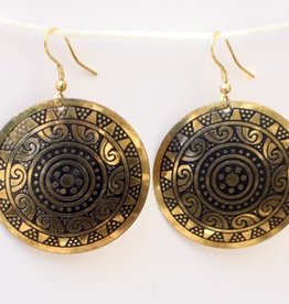Golden Sun Medallion Hanging Earring