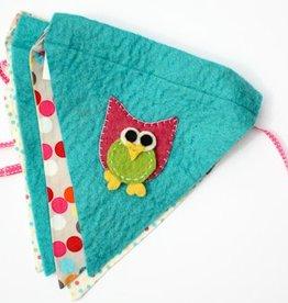 Turquoise Night Owl Felt Banner