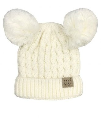 CC Youth Beanie with Ears Ivory Multi 16ea5a4764fb