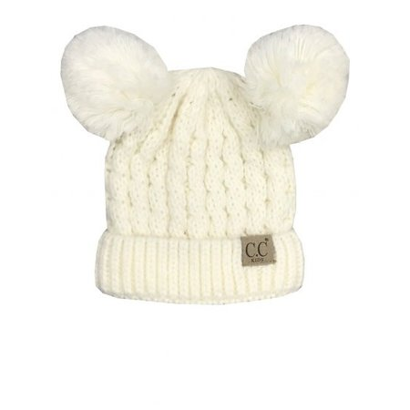 CC Youth Beanie with Ears Ivory Multi