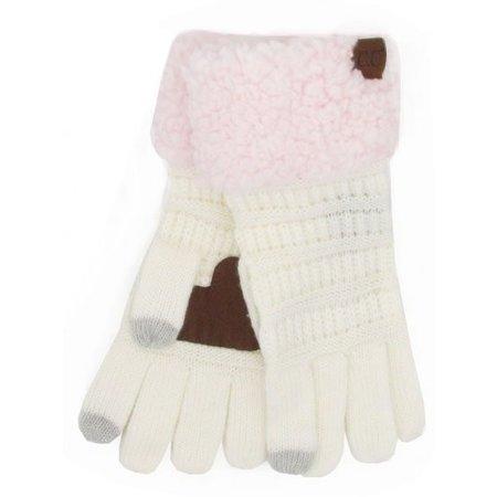 CC Sherpa Gloves Ivory - Light Pink