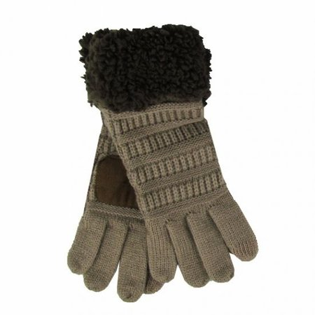 CC Sherpa Gloves Taupe - Brown Heather
