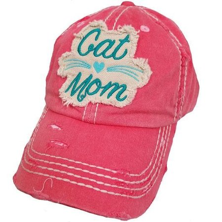 Cat Mom Torn Hat Hot Pink