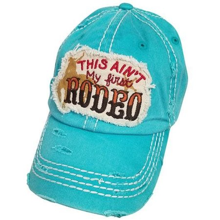 This Ain't My First Rodeo Torn Hat Turquoise
