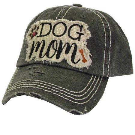Dog Mom Torn Hat Black