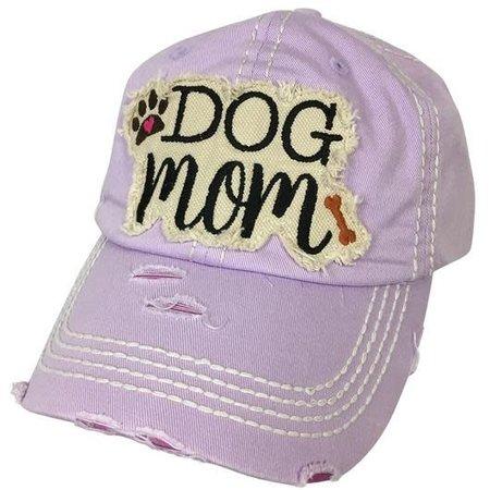 Dog Mom Torn Hat Light Purple
