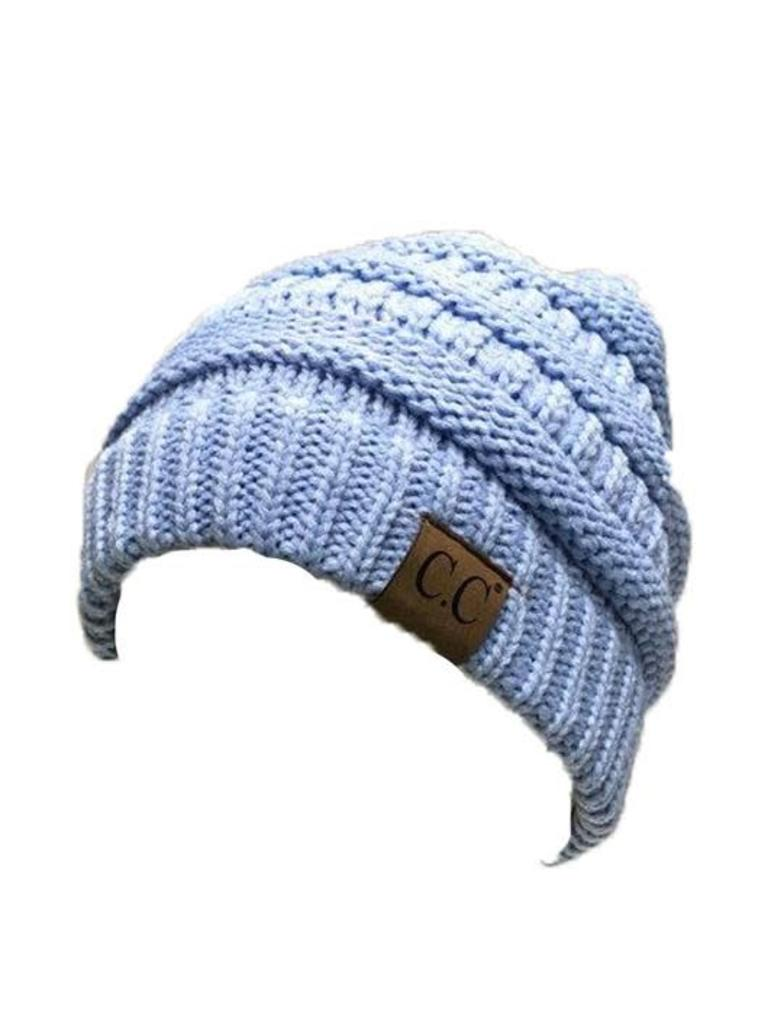 5c33b0b40df Solid Ribbed Knitted Beanie Hat Pale Blue - Papa s General Store