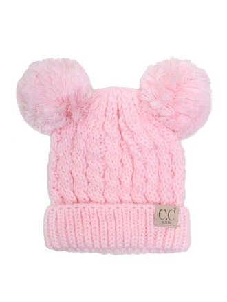 CC Youth Double Pom Beanie Pale Pink 979a46639f13