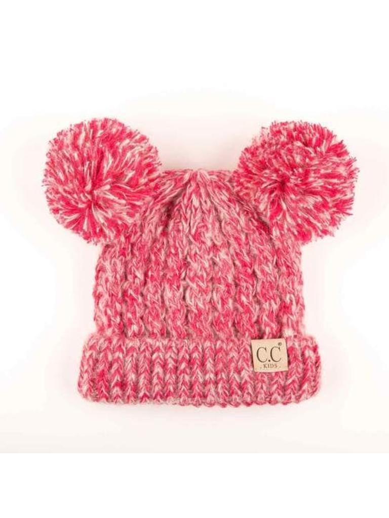 ece9e4f5169 CC Youth Double Pom Beanie Hot Pink Multi - Papa s General Store