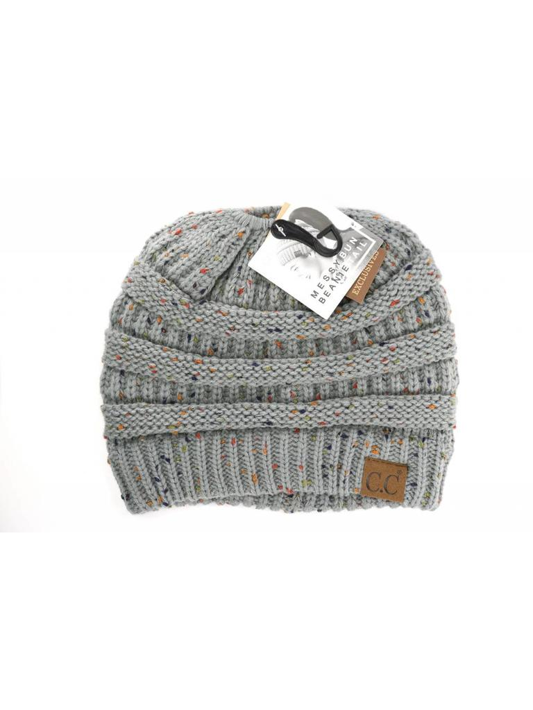 42289a4be03 C.C. Messy Bun Speckled Beanie Natural Grey - Papa s General Store