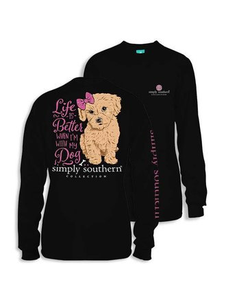 16020c18 Simply Southern Life Is Better With My Dog Youth LS T-Shirt