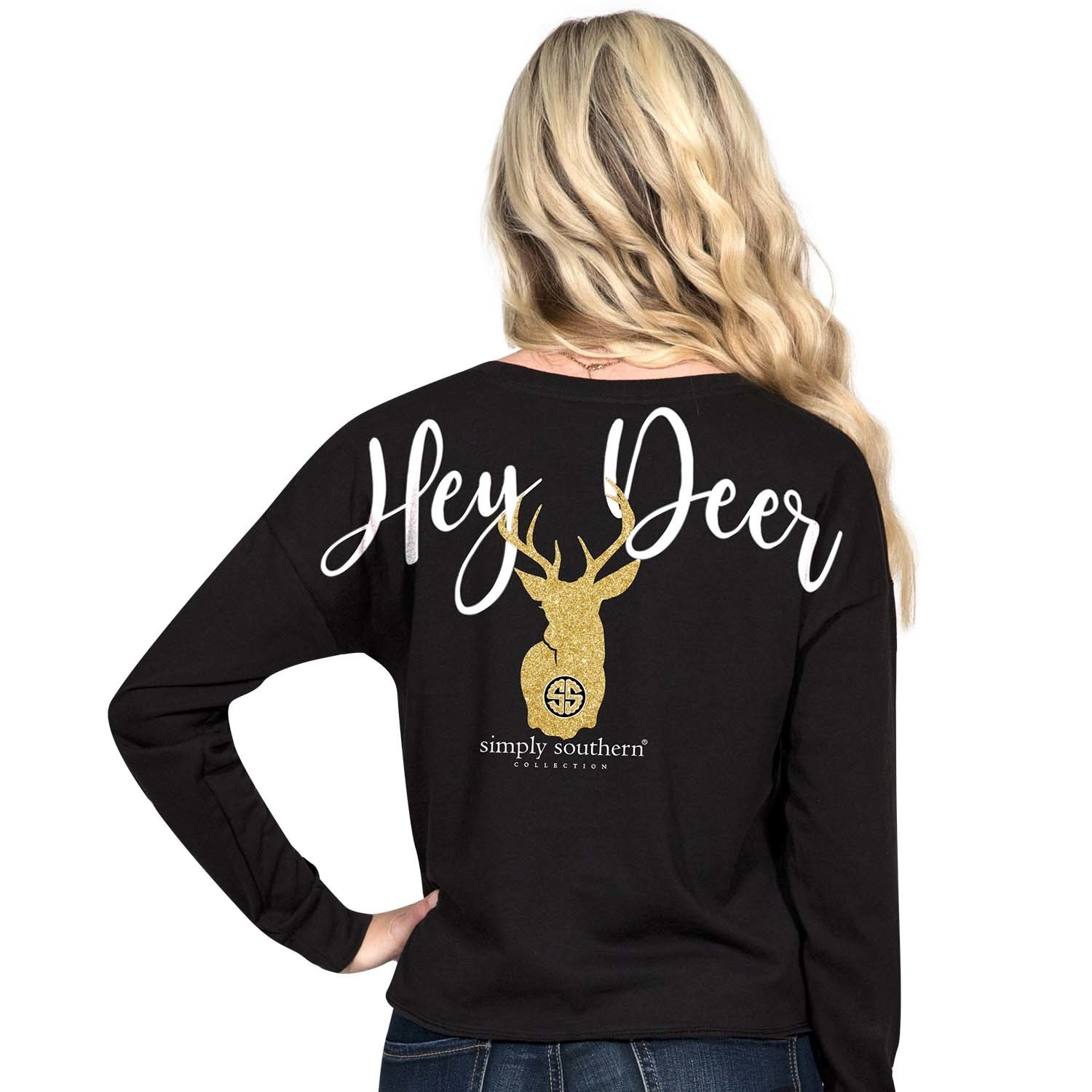 15b2641bea95ef Simply Southern Hey Deer Black Shortie LS - Papa's General Store