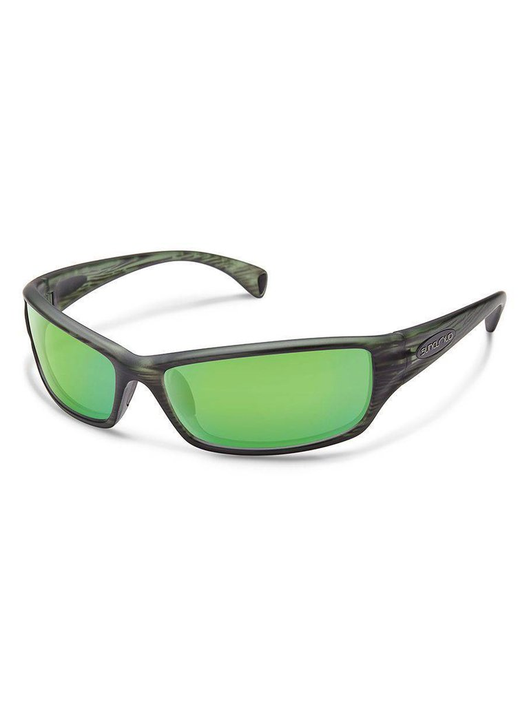 f9b13a1cdd Hook Sunglasses  Matte Green Stripe Polarized Green Mirror Polycarbonate  Lens