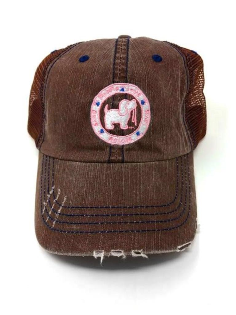 Puppie Love Logo Distressed Brown Trucker Hat - Papa s General Store 4bd900b745a5