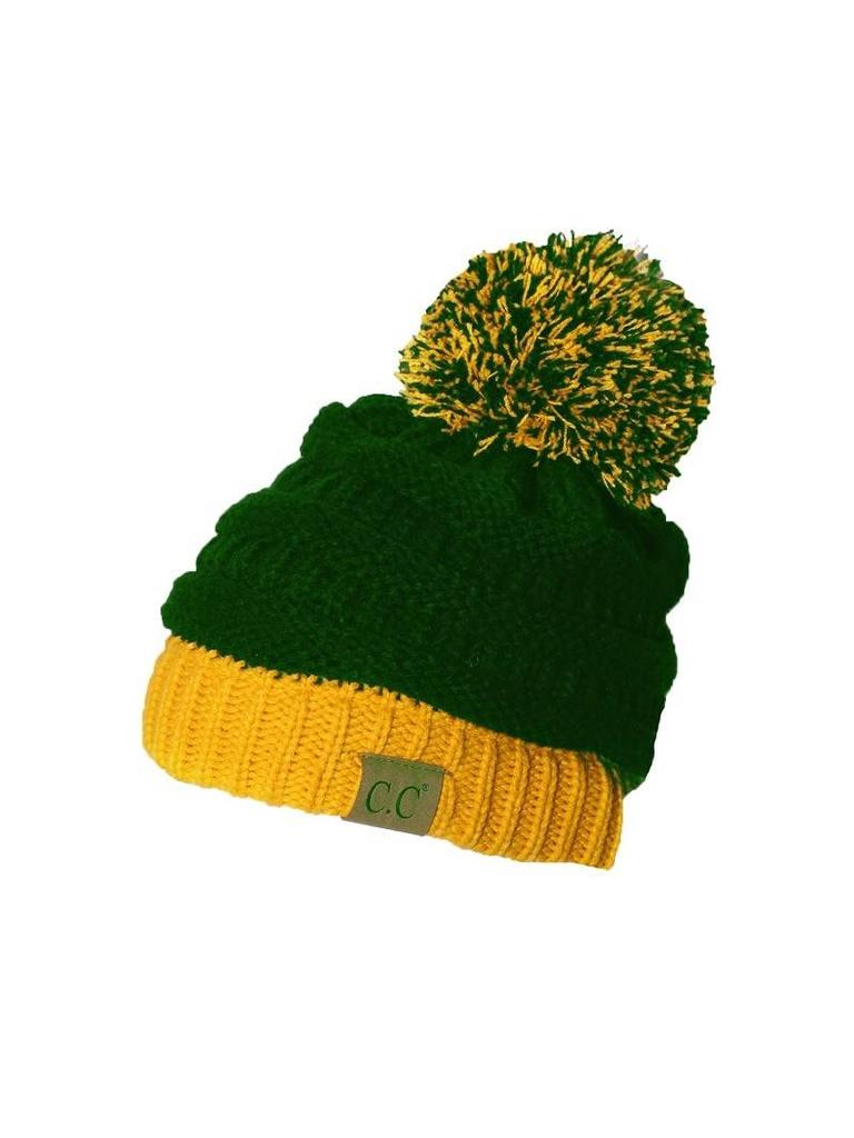 CC Beanie with Pom Pom Green-Gold - Papa s General Store 435482a3e18