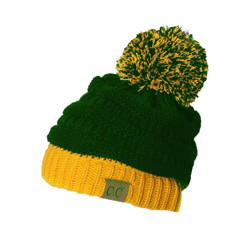 CC Beanie with Pom Pom Green-Gold - Papa s General Store d2ea75c5cdc