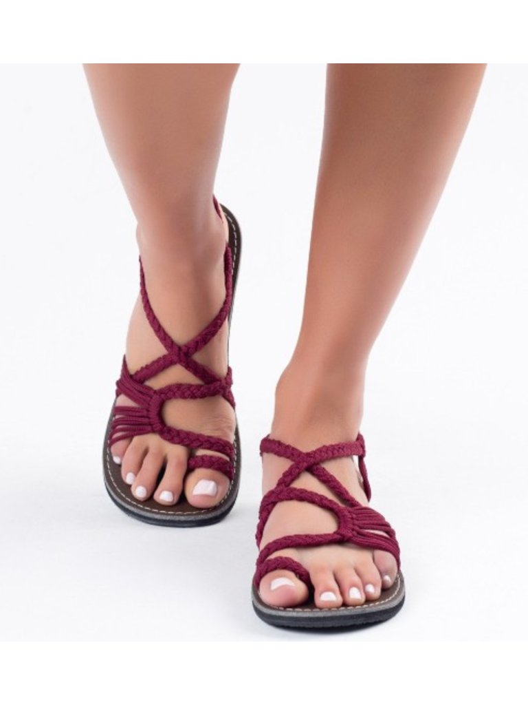 Plaka Sandals Palm Leaf Sangria
