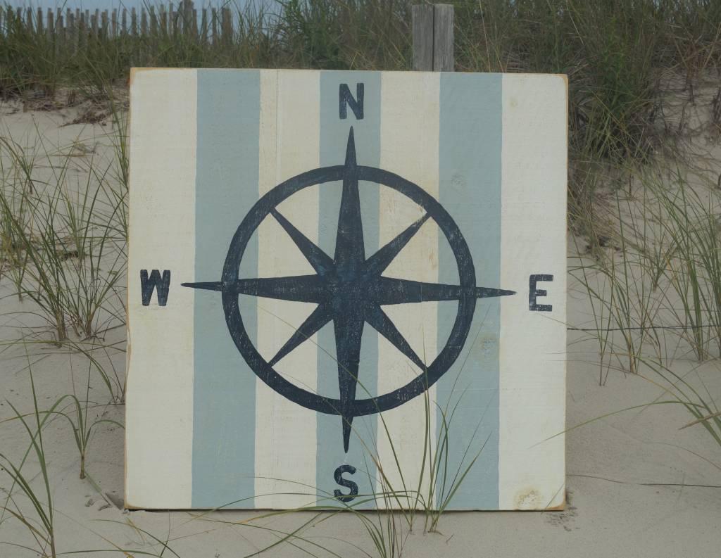 Compass Rose Indigo Streamer with Yarmouth Blue Stripes 36x36