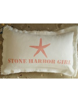 Starfish Stone Harbor Girl Pillow Pink Punch 12x18