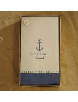 Long Beach Island Boxed Guest Napkins Anchor Navy