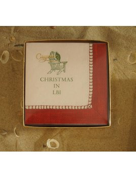 Christmas In LBI Red Boxed Cocktail Napkin