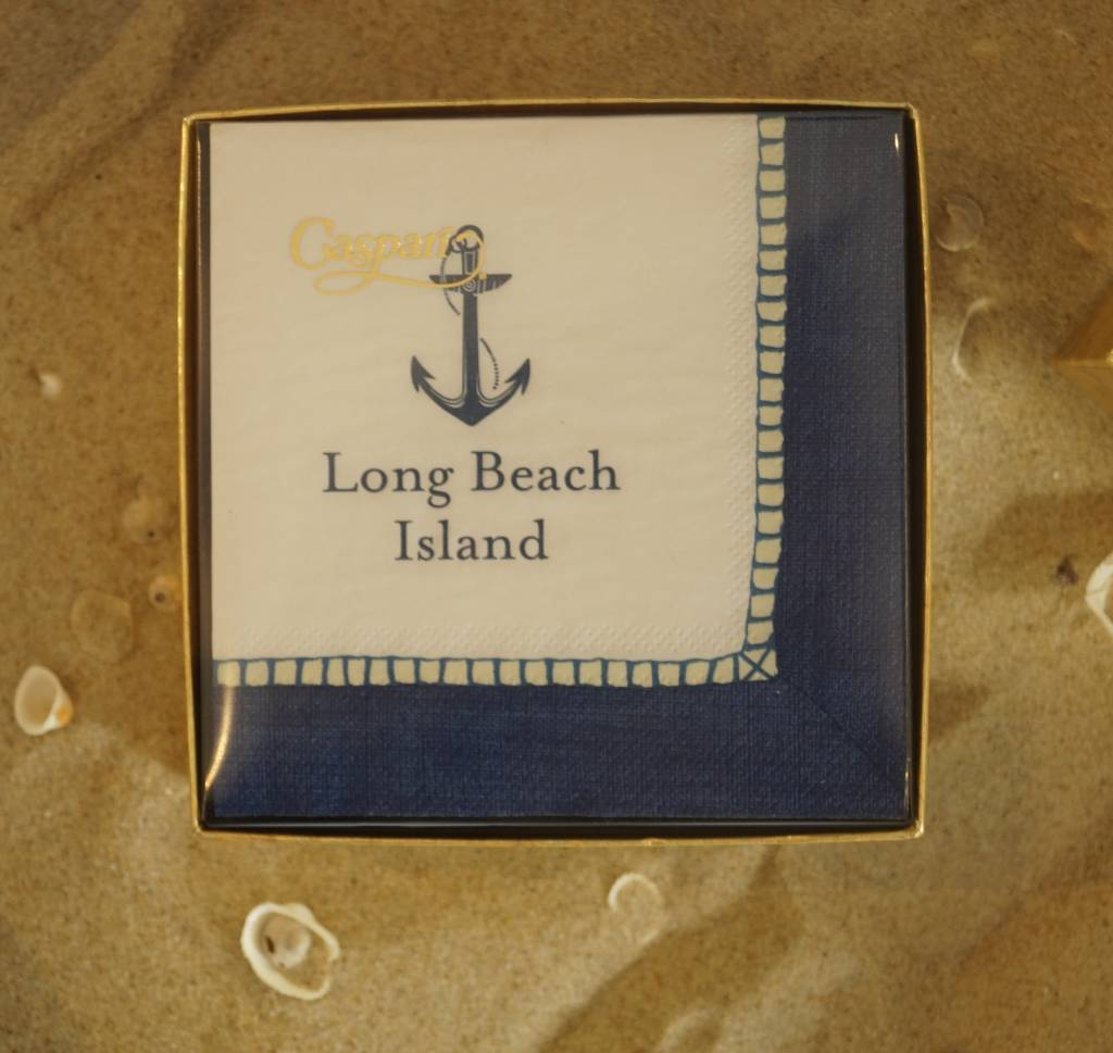 Boxed Cocktail Napkin Long Beach Island Navy