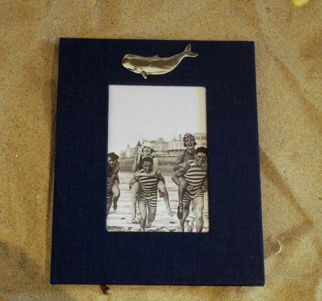 Navy Frame Pewter Whale 4x6 Vertical