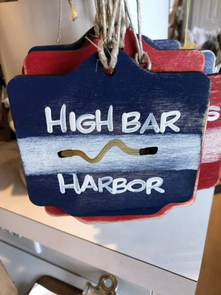 Beach Badge Ornament Navy High Bar Harbor