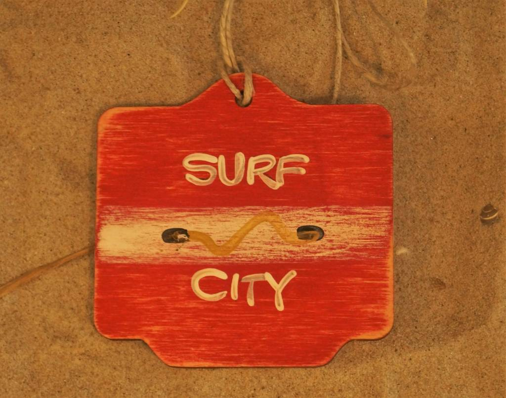 Beach Badge Ornament Red Surf City