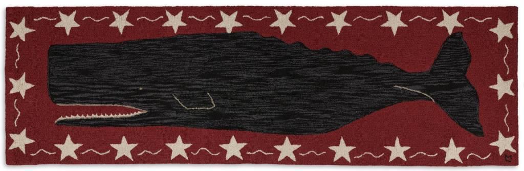 Hooked Rug  Runner Black Whale