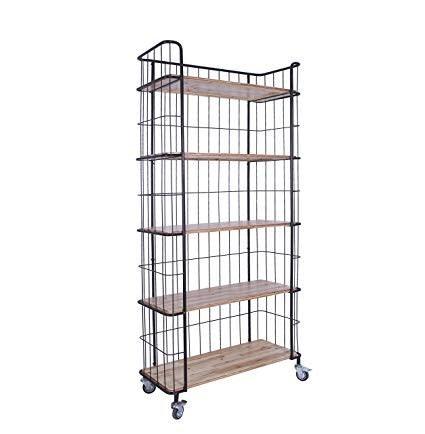 Metal and Wood 5-Tier Shelf