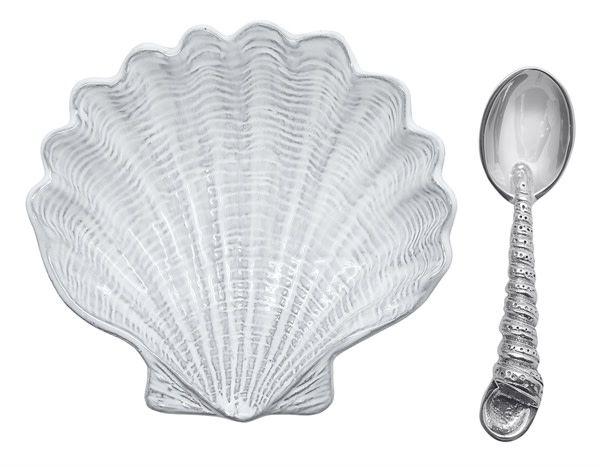 Scallop Ceramic Canape with Spoon