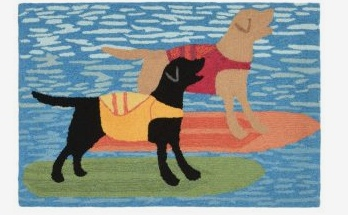 Front Porch Rug Surfboard Dogs Ocean 24x36
