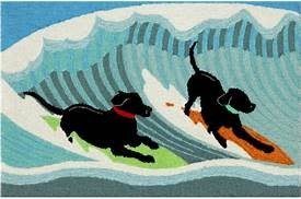 Front Porch Surfing Dogs Ocean Rug 24x36
