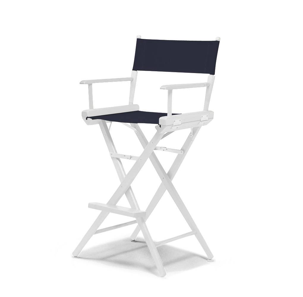 Bar Height Director Chair White with Navy