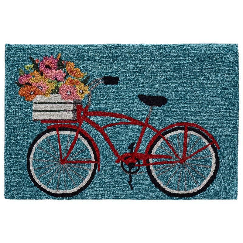 Bike Ride Blue Rug 24x36