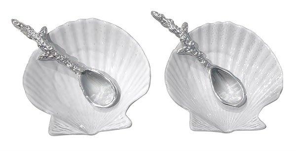 Scallop Ceramic Open Salt Spoon Set