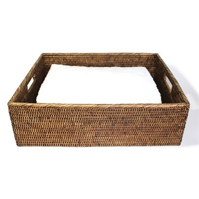 Rectangular Tray with Cut Out Handle Brown