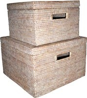 White Large Storage Baskets 15x10