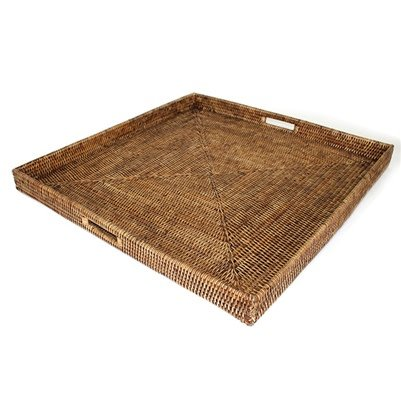 Brown Sqaure Tray with Handle 25x25