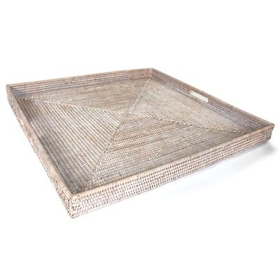 White Square Tray with Handle 25x25