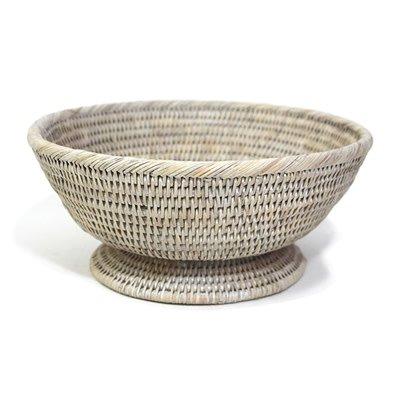 White Round Pedestal Basket