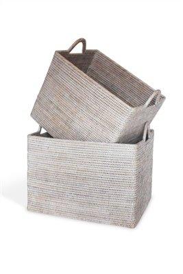 Large White Loop Handle Basket 20x15