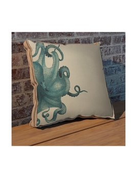 Octopus Study Pillow Blue 20x20