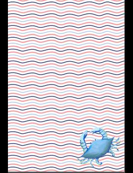 Blue Crab Wave Kitchen Towel