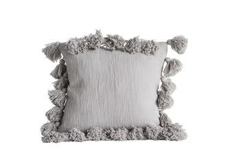 "18"" Square Cotton Pillow w/ Tassels Grey"