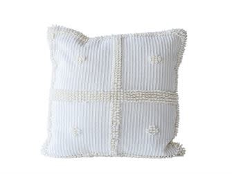"20"" Square Chenille Pillow Ivory"