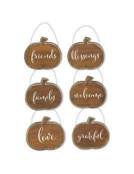 Assorted Barnwood and Tin Pumpkin Message Ornament