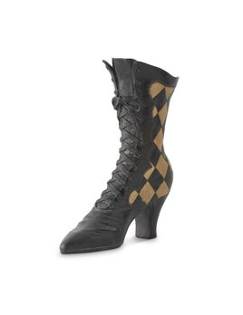 Black Checked Witch Boot Large