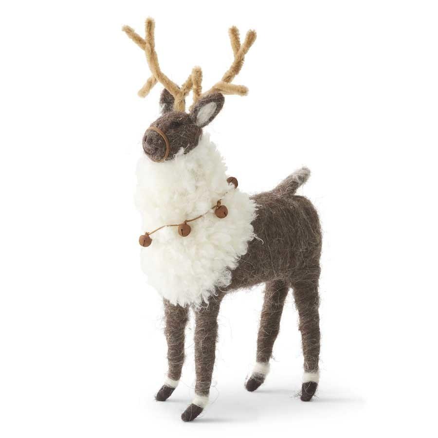 12.25 Inch Wool Reindeer with Bells
